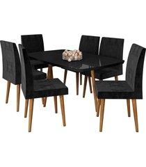 conjunto de mesa de jantar jade preto 1,70x0,90 c/ 6 cadeiras rv móveis