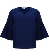 blusa unicolor manga campana color azul, talla 10