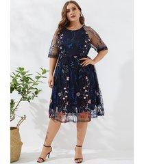 yoins plus talla azul marino estampado floral bordado medias mangas vestido