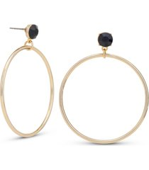 rachel rachel roy gold-tone black stud drop hoop earrings