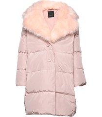 aria fur - keres gevoerde lange jas roze sand