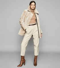 reiss izzie - mid length shearling coat in neutral, womens, size xl