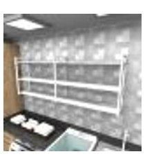 prateleira industrial lavanderia aço cor branco 180x30x68cm cxlxa cor mdf branco modelo ind32blav