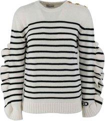 red valentino intarsia-knit logo wool blend sweater