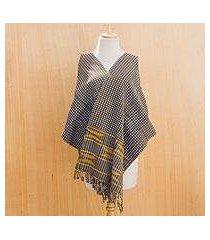 cotton kente cloth scarf, 'royal checks' (ghana)
