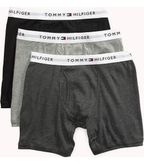 tommy hilfiger men's classic cotton boxer brief 3pk grey/black - s