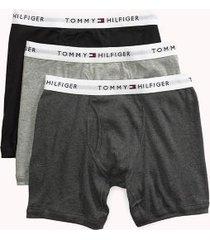 tommy hilfiger men's cotton classics boxer brief 3pk grey/black - xl