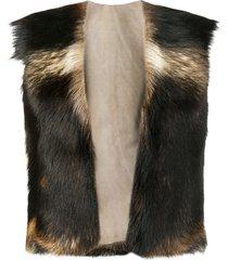 a.n.g.e.l.o. vintage cult fur vest - brown