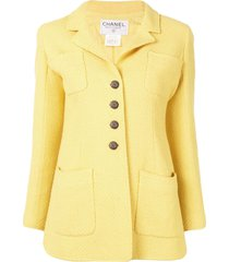 chanel pre-owned woven slim-fit blazer - yellow