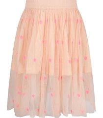 stella mccartney pink girl skirt with neon fuchsia hearts