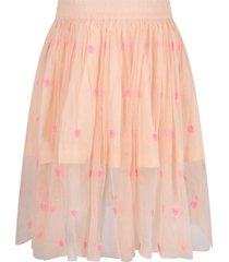 stella mccartney kids pink skirt for girl with neon fuchsia hearts