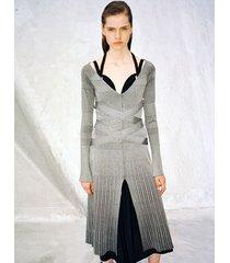 proenza schouler metallic rib halter long sleeve dress silver s