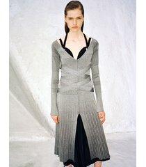 proenza schouler metallic rib halter long sleeve dress silver m