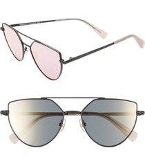 women's rebecca minkoff stevie2 55mm aviator sunglasses - matte black