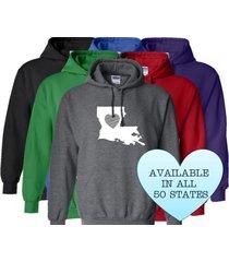 louisiana hoodie sweatshirt love home heart unisex men women state