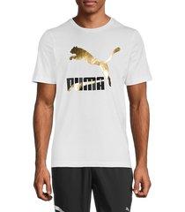 puma men's classic logo short sleeve t-shirt - white - size s