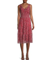 max studio women's floral tiered dress - red combo - size m