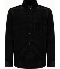 a.p.c. camicia in cotone vellutato nero