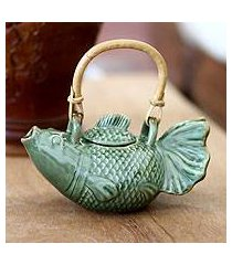 ceramic teapot, 'green koi' (indonesia)