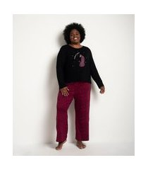 pijama longo em viscolycra estampa onça curve & plus size | ashua curve e plus size | preto | g