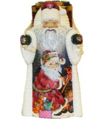kurt adler 11.5-inch czar treasures wooden santa with backpack