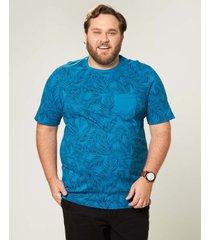 camiseta tradicional folhagens com bolso wee! azul escuro - xgg
