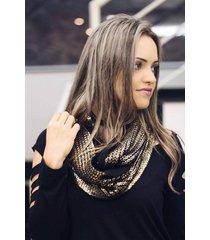 cachecol fechado tricot dourado