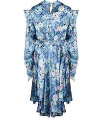 balenciaga twested ruffle floral dress