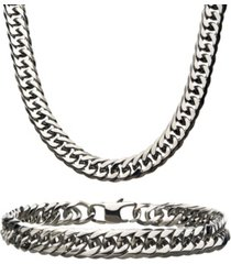 """inox double curb chain 8"""" bracelet and 22"""" necklace set"""