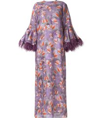 bambah camelia feather trim kaftan dress - purple