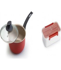 kit panela luxury nâº18 +pote plã¡stico para marmita 780ml - prata - dafiti
