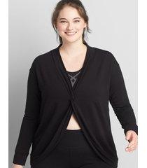 lane bryant women's livi twist-knot sweatshirt 38/40 black