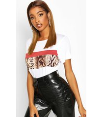colour block luipaardprint t-shirt, wit