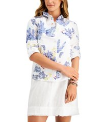 charter club petite printed button-front top, created for macy's