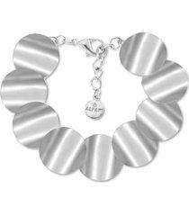 alfani silver-tone rippled disk flex bracelet, created for macy's