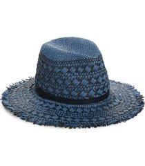 women's treasure & bond frayed pattern panama hat - blue