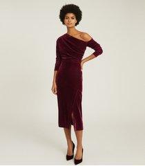 reiss bella - velvet midi dress in berry, womens, size 14