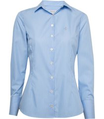 camisa dudalina manga longa tricoline fio tinto pala cruzada feminina (listrado, 46)