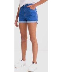 short hot pants com barra dobrada