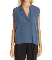 women's vince tie neck sleeveless silk blouse
