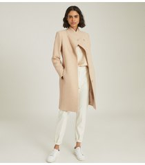 reiss marcie - wool blend mid length coat in stone, womens, size 10