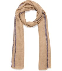 floral embroidered edge cashmere scarf