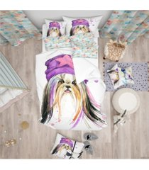 designart 'stylish puppy with purple hat' modern and contemporary duvet cover set - queen bedding
