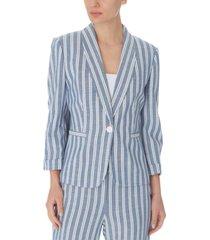 nine west striped one-button blazer