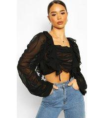 chiffon ruffle and ruched detail blouse, black