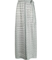 missoni mare metallic wide-leg crochet trousers - silver