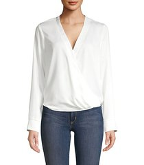 faux wrap long-sleeve blouse