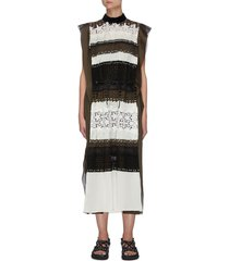 sleeveless graphic mesh panel drawstring midi dress