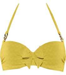 sunglow plunge balcony bikini top | wired padded royal yellow - 38ddd/f