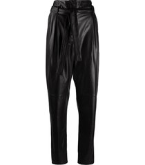 drome belted straight-leg trousers - black